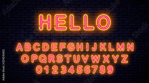 Neon beautiful yellow - red letters. Vector Illustration