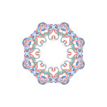 Elegant Round Had-drawn Watercolor Pattern Frame Of Ethnic Geometric Motifs In Art Nouveau Style And Medieval Miniatures. Abstract Elements In Delicate And Romantic Shades Of Pink, Green And Blue