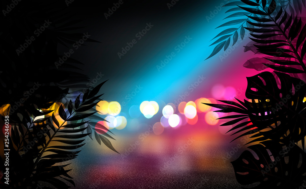 Fototapeta Background of an empty room with brick walls and neon lights. Silhouettes of tropical leaves, colorful smoke