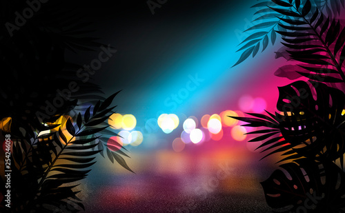 Background of an empty room with brick walls and neon lights. Silhouettes of tropical leaves, colorful smoke