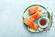 Seafood. Fresh Raw Salmon Or T...