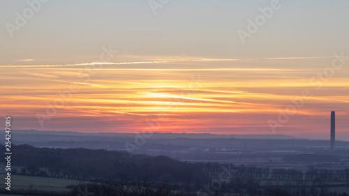 sunset over land