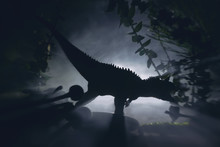 Tyrannosaurus Dinosaur Is Hunting In A Night Jungle, Concept Of Jurassic Period.