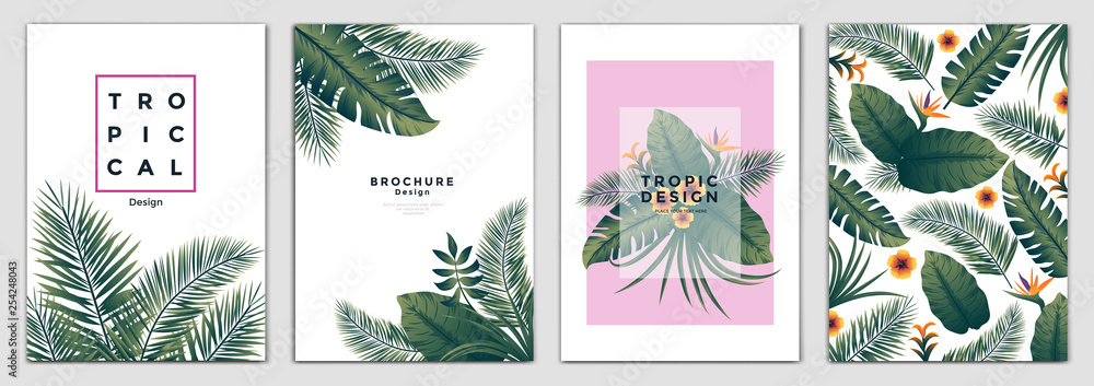 Fototapety, obrazy: Tropical Brochure Design Layout Template in A4 size, greeting cards. Frame with tropic leaves. Ideal for party poster, greeting card, banner or invitation. Vector Illustration