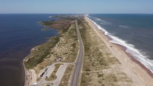 052 Aerial View Of Road Between Oceanside And Soundside. 4k