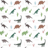 Fototapeta Dinusie - Seamless pattern with multicolors dinosaurs and bright leaf on the white background
