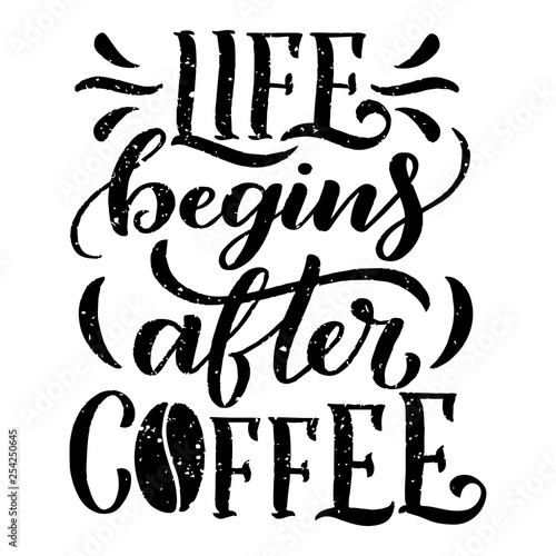 Hand lettering quote with sketches for coffee shop or cafe Canvas Print
