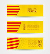 Set Of Three Horizontal Banners With Flag Of Catalonia. Web Banner Design Template In Color Of Catalonia Flag.