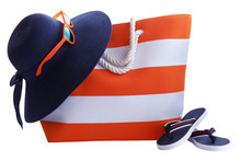 Orange Stripe Beach Bag  Hat And Other Beach Stuff  Isolated On White Background
