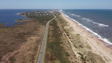056 Aerial View Of Road Between Oceanside And Soundside. 4k