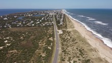 059 Aerial View Of Road Between Oceanside And Soundside. 4k