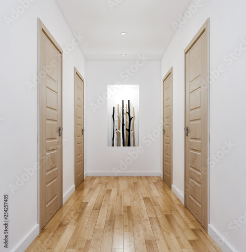 modern bright entrance corridor, apartment interior illustration 3D rendering Canvas Print
