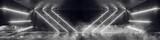 Fototapeta Do przedpokoju - Sci Fi Futuristic Background Neon Modern Elegant Dark White Glowing Tubes Cyberpunk Empty Room Hall Tunnel Corridor Grunge Reflective Concrete Pattern 3D Rendering
