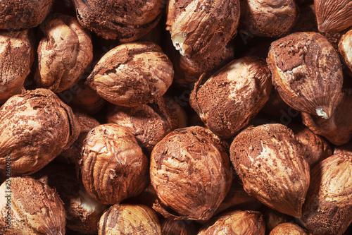 Fotografía  Peeled hazel nuts as background