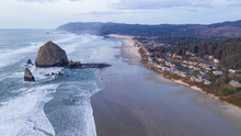 Aerial View Over Cannon Beach ...