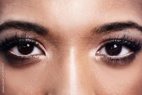 Big Brown Eyes Of A Beautiful Dark Skinned Girl Professional Make