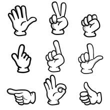 アナログタッチの手のひらのポーズ集(黒陰影付)|手のカットイラストセット|線画・ベクターデータ|Set Of Illustration Of Hand Pose