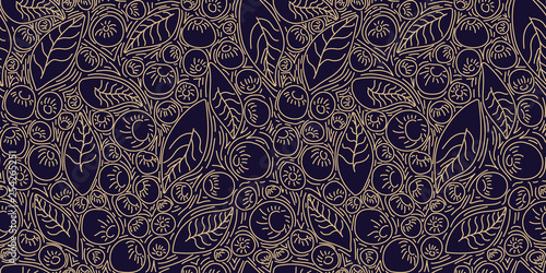 Pattern concept berries acai vector line Wallpaper Mural