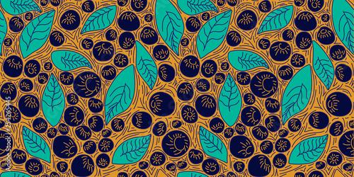 Pattern concept berries acai vector line Canvas Print