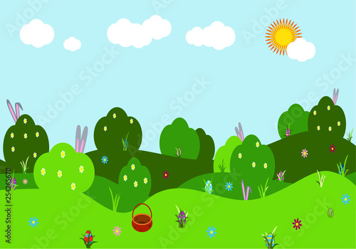 Photo Stands Kids Spring vector landscape. Illustration with bushes, hills with flowers, bunny ears and colorful eggs, sky, green grass. Festive Easter party background. Game screen for stickers or web applications.