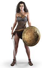 Portrait Of A Sexy Amazon Female Posed With A Sword And Shield On An Isolated White Background. 3d Rendering