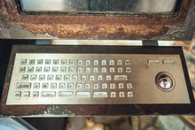 Very Old Computer, Rusty Keyboard With Monitor