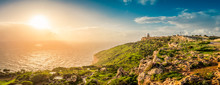 Dingli Cliffs And Aviation Radar At Sunset In Dingli, Malta