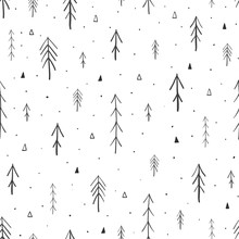 Hand Drawn Forest Seamless Pattern. Vector Illustration