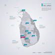 Sri Lanka vector map with infographic elements, pointer marks.