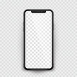 Black realistic smartphone on transparent background - stock vector