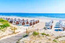 Path To Beach With Traditional Wicker Chairs In Binz Summer Resort, Ruegen Island, Baltic Sea, Germany