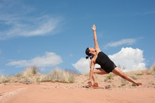 Native American Yogini In New Mexico Red Canyon Landscape