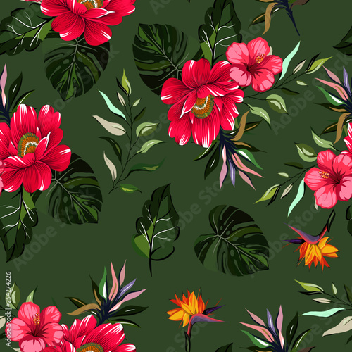 Seamless pattern tropical pink flower with leaves