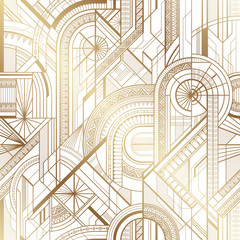 Seamless art deco geometric gold and white pattern