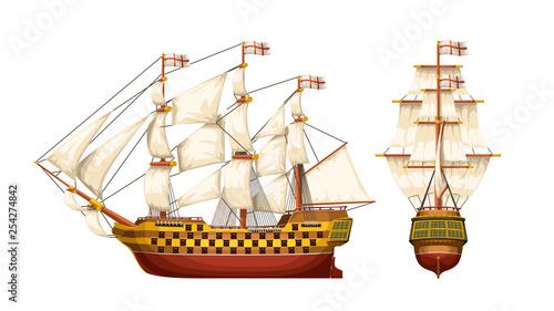 In de dag Schip old war ship set