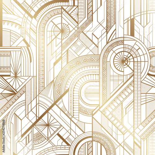 Tapety do gabinetu  seamless-art-deco-geometric-gold-and-white-pattern