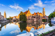 canvas print picture - Bruges, Belgium. The Rozenhoedkaai canal in Bruges with the Belfry in the background.