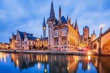 Ghent, Belgium. Medieval Buildings Overlooking The Graslei Harbor On Leie River.