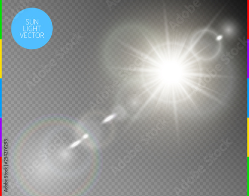 Obraz Vector transparent sunlight special lens flare light effect. Isolated sun flash rays and spotlight. White front translucent sunlight background. Blur abstract glow glare decor element. Star burst. - fototapety do salonu