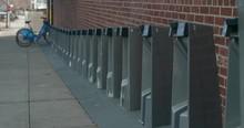 Empty Bike Share Rack In Long Island City, Queens.