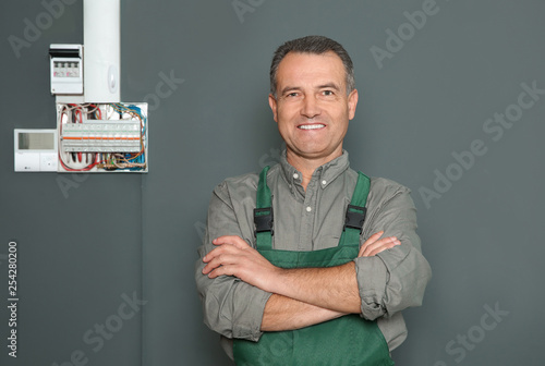 Fototapety, obrazy: Male electrician standing near fuse board on grey wall