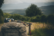 Isolated Bagpipes In Scotland Highlands Laying On A Rock In Middle Of Summer Great Illustration Of Scottish Culture
