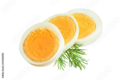 Fototapeta boiled egg slice isolated on white background obraz