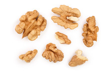 Peelled Walnuts Isolated On White Background. Top View. Flat Lay