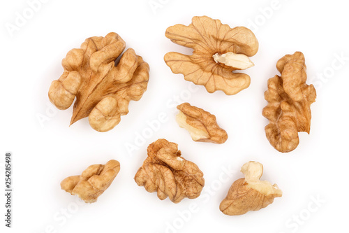 Obraz peelled Walnuts isolated on white background. Top view. Flat lay - fototapety do salonu