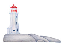 Maritime Lighthouse Tower On Rock Stones Island. Hand Painted Water Color Graphic Drawing On White With Copy Space, Cutout Clipart Design Element For Marine Card, Banner, Frame, Border, Poster, Decor.