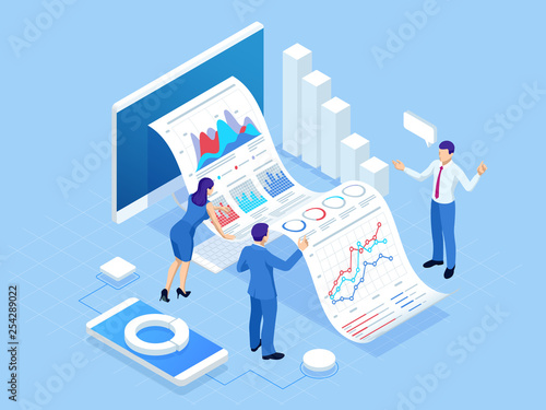 Fotografía  Isometric concept of business analysis, analytics, research, strategy statistic, planning, marketing, study of performance indicators