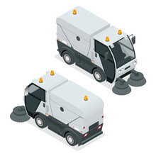 Isometric Road Sweeper Dust Cleaner Road Sweeper. Special Purpose Vehicle For Washing Road.