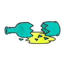 Textured Cartoon Doodle Of A Broken Bottle