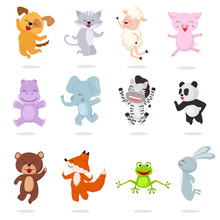 Kids Animals Vector Cartoon Animalistic Characters Dog Cat Baby Piglet Little Panda Illustration Set Of Bunny Jumping Fox Happy Bear Child Isolated On White Background